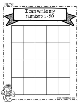 Writing Numbers to 20 Assessment