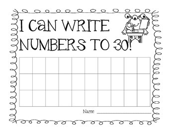 Writing Numbers to 30 - Cute Charts to 30 w/ a Monster Theme