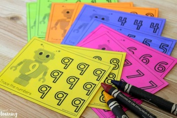 Writing Numerals Worksheets: Robot Numbers!