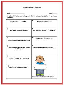 Writing Numerical Expressions (Three Worksheets w/ Answer Keys)