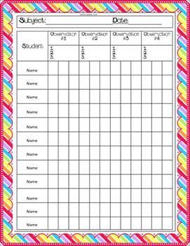 Standards Based Observation Notebook (Editable)