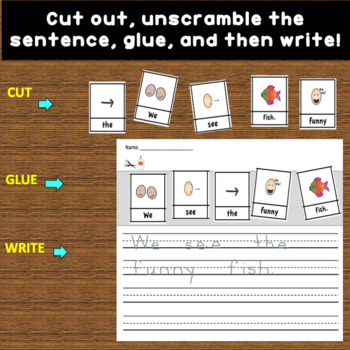 Sentence Building with Pictures SEA ANIMAL themed