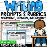 Writing Prompts and Scoring Rubrics | Distance Learning | Digital Included