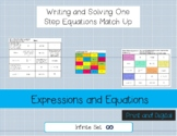 Writing One Step Equations from word problems Match Up