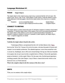 Writing Openers Language Application Grade 5