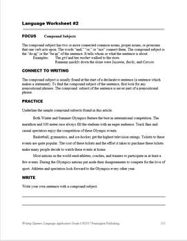 Writing Openers Language Application Grade 6