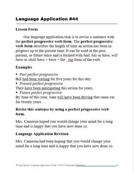 Writing Openers Language Application Grade 7