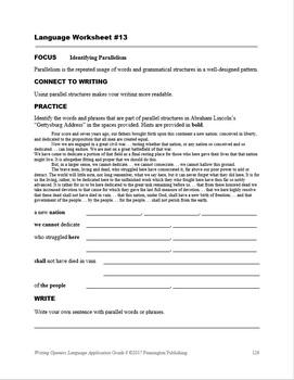 Writing Openers Language Application Grade 8