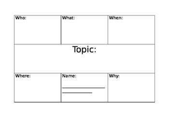 Writing Organizer:  Who, What, When, Where, Why