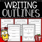 Writing Outlines {Opinion, Informative, Step, Personal, and Fictional Narrative}