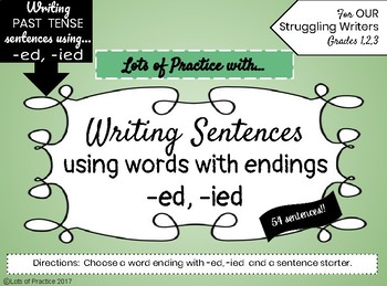Writing PAST TENSE Sentences for Struggling Writers