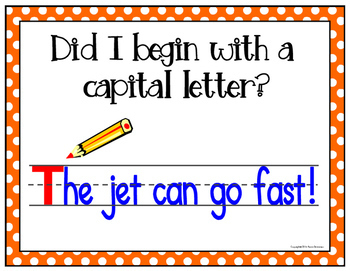 Writing POSTERS for Writing Sentences - Polka Dots