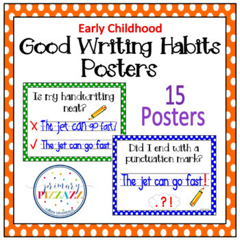 Writing POSTERS for Writing Sentences - Polka Dots