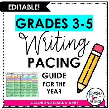 Writing Pacing Guide - Editable and FREE!