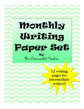 Writing Paper Set for Each Month - Wide Ruled for Print or Cursive