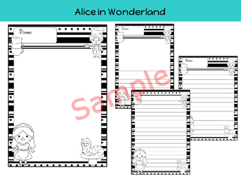 Writing Paper : Alice in Wonderland - Black and White
