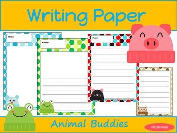 Writing Paper : Animal Buddies : Primary Lines