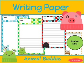 Writing Paper : Animal Buddies : Standard Lines