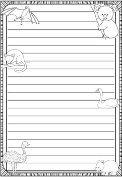 Writing Paper : Aussie Friends 1 : Standard Lines