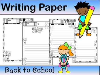 Writing Paper : Back to School : Standard Lines : BW