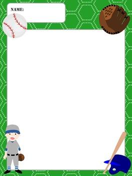 Writing Paper : Baseball : Standard Lines