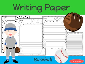 Writing Paper : Baseball : Standard Lines : BW