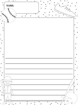 Writing Paper : Baseball : Standard Lines : BW