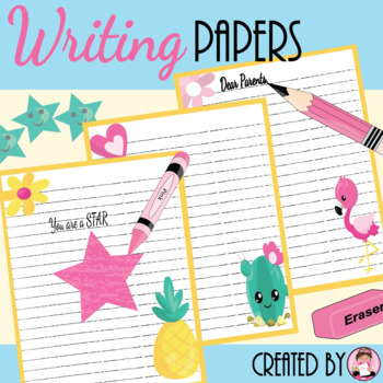 Writing Paper (Cactus, Flamingos, and Pineapple Style)