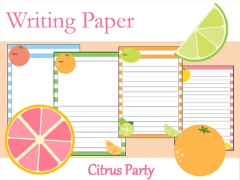 Writing Paper : Citrus Party : Standard Lines