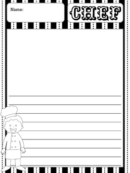 Writing Paper : Community Helpers 1 : Standard Lines BW