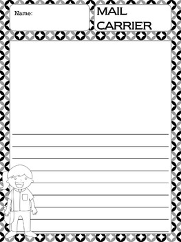 Writing Paper : Community Helpers 2 : Standard Lines BW