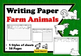 Writing Paper Farm Animals with borders, lines and picture box