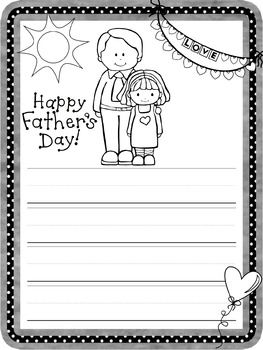 Writing Paper : Father's Day : Primary Lines : BW