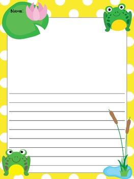 Writing Paper : Froggie Frolic : Standard Lines