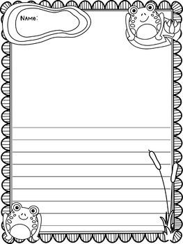 Writing Paper : Froggie Frolic : Standard Lines : BW