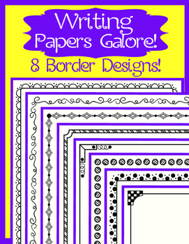Writing Paper Galore ~ 8 Border Designs ~ Many Lines Style