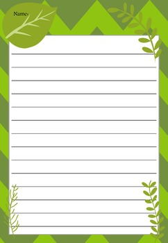 Writing Paper : Green Leaves : Standard Lines