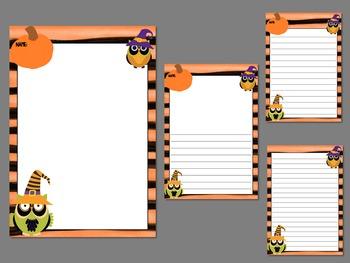 Writing Paper : Halloween Owls : Standard Lines