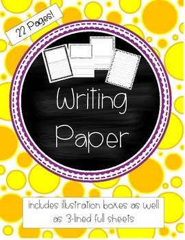 Writing Paper - Illustration boxes as well as 3-lined full sheets