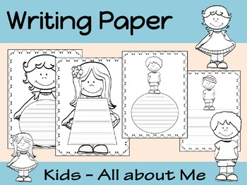 Writing Paper : Kids All About Me : Primary Lines : BW