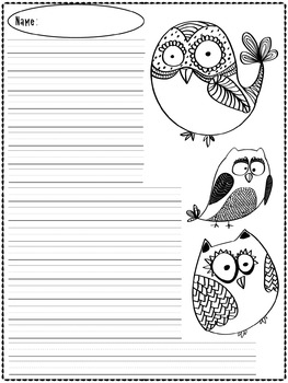 Writing Paper : Kooky Sweet Owls : Primary Lines
