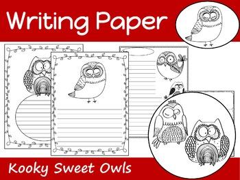 Writing Paper : Kooky Sweet Owls : Standard Lines