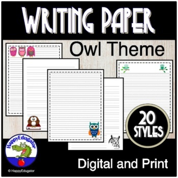 OWL Writing Paper - Lined Paper - Owl Theme