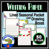 Holiday Writing Paper - Lined Paper - Seasonal Packet with Drawing Boxes