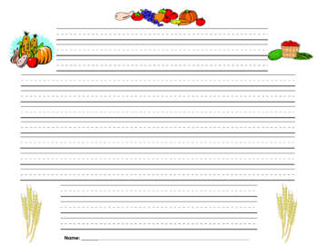 Thanksgiving Writing Paper - Lined Paper - Thanksgiving Harvest Theme