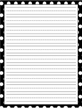 Writing Paper Lined Polka Dots Set of 8