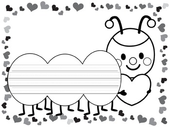 Writing Paper : Love Bug Me Do : Primary Lines