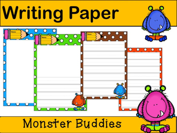 Writing Paper : Monster Buddies : Primary Lines