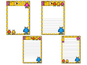 Writing Paper : Monster Buddies : Standard Lines