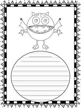 Writing Paper : Monster Mash : Primary Lines